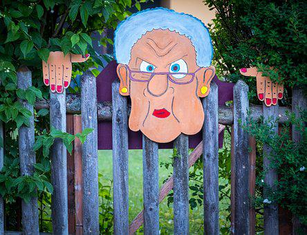 Fence, Hedge, Artwork, Grandma, Painted, Horror