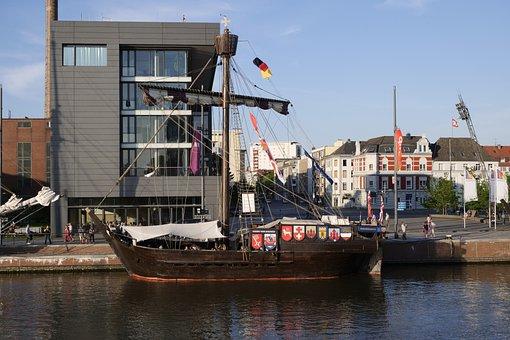 Shipping, Ship, Cog Ship, Kogge Ubenia Of Bremen, Water