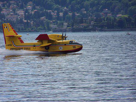 Plane, Lake, Canadair, Ala, Propeller, Fire