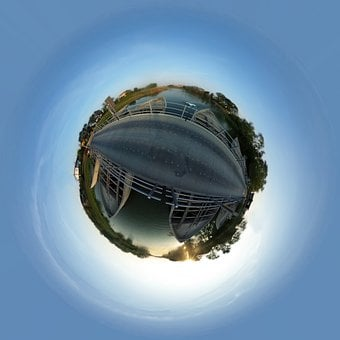 Planet, Boats, Bridge, Marina, River, Boat, Sphere