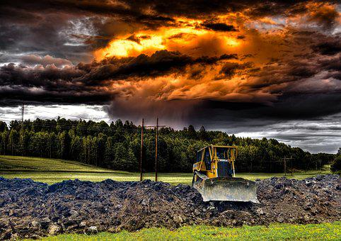 Bulldozer, Work, Dramatic, Cloud's, Nature, Outdoors