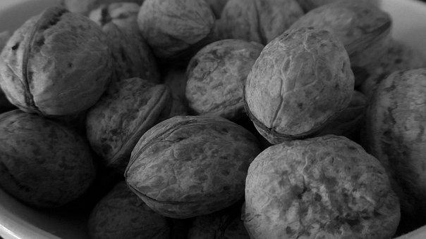 Nuts, Walnuts, Grayscale, Food, Healthy, Nutshell