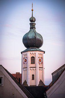 Steeple, Clock, Tower, Catholic, Old Town, Architecture