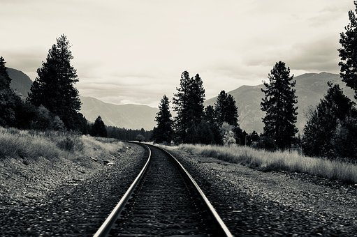 America, Usa, Train, Track, On The Go, Mountains