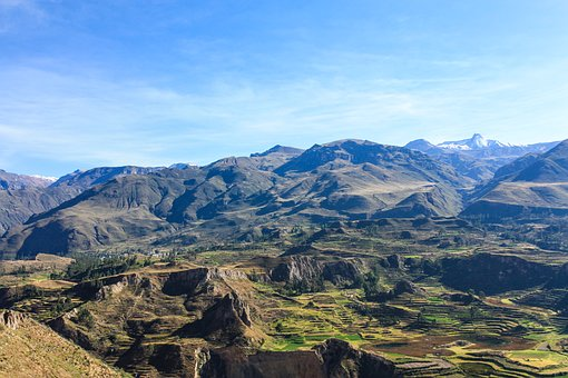 Colca Canyon, Canyon, Terraces, Peru, Panorama