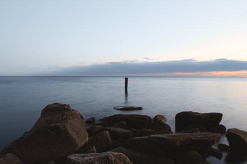 Beach, Long Exposure, Photography, Rocks, Water, Sunset