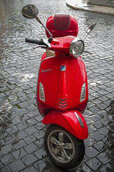 Vespa, Scooter, Motorcycle, Red, Vehicle, Motorbike