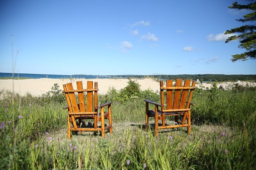 Beach, Chairs, Summer, Sky, Blue, Vacation