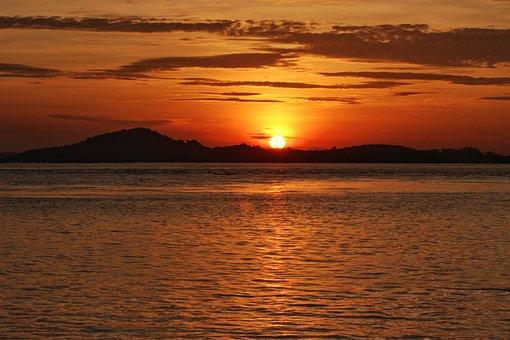 Landscape, Sunset, Sun, Island, Sky, Nature, Summer