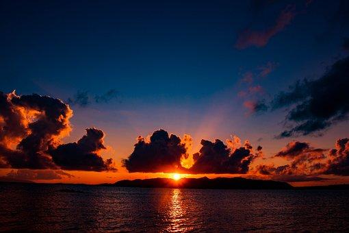 Sea, Sunset, Japan, Sky, At Dusk, Sun, Romantic