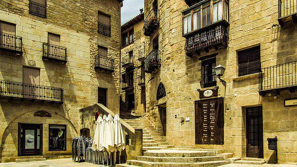Vallderrobres, Plaza, People, Village, Spain