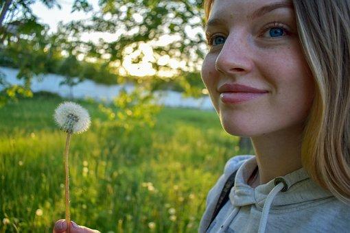 Dandelion, Girl, Beautiful, Photoshoot, Beauty, Summer