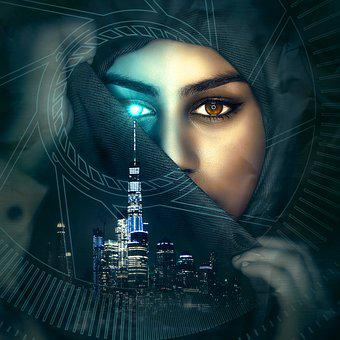 Cd Cover, Portrait, City, Futuristic, Woman, Face, Eye