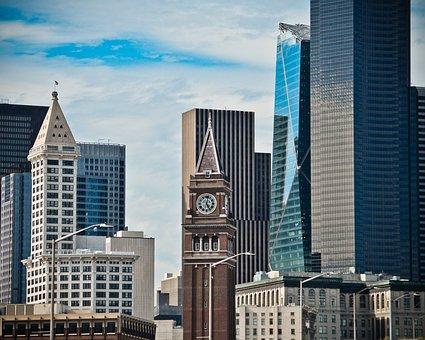 City, Buildings, Skyscrapers, Sky, Clock Face, Seattle