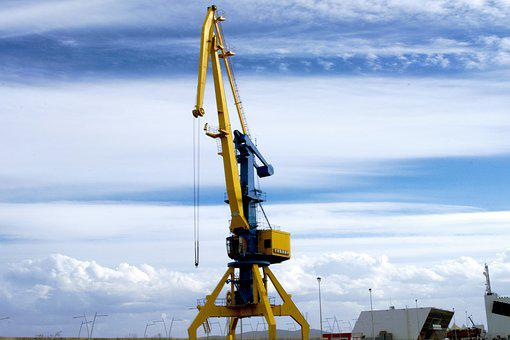 Clouds, Sky, Blue, Yellow, Crane, Industry, Port