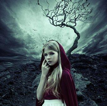 Fantasy, Girl, Crow, Dead, With, Fairy, Portrait, Raven