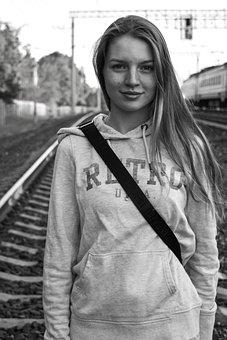 Girl, Beautiful, Portrait Of A Girl, Railway, Journey