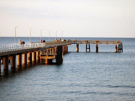 Bridge, Baltic Sea, Sea, Water, Iron, Steel, Sea Bridge