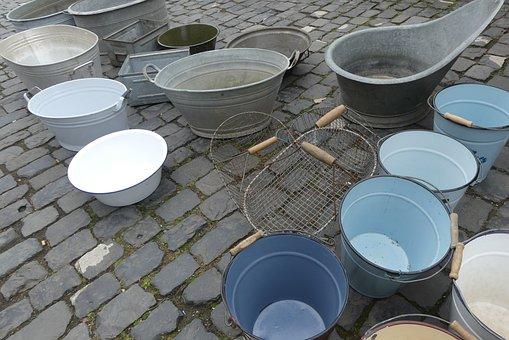 Bucket, Sale, Market, Blue, Blue Bucket, Putz Bucket