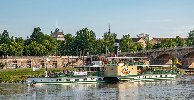 Elbe, River, Ship, Water, Nature, Dresden, Spring