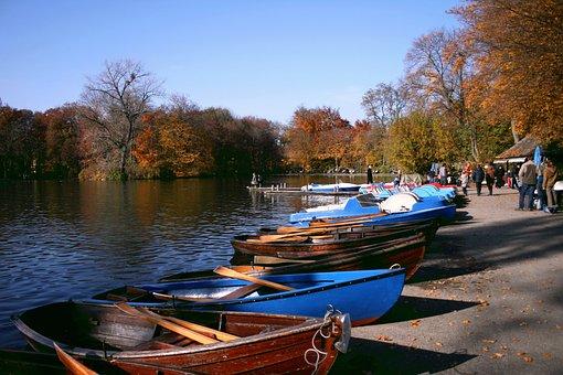 Autumn, Park, Lake, Nature, Boat, Fall Foliage, Human