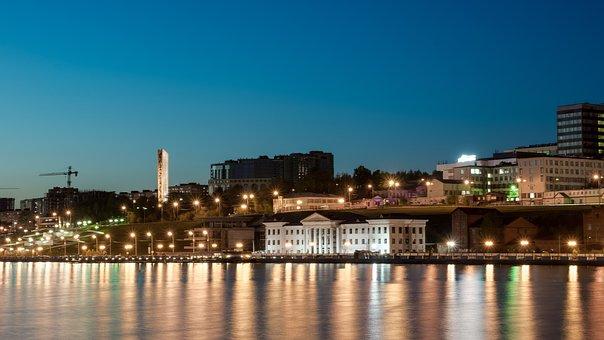 City, Night, Night City, Pond, Evening