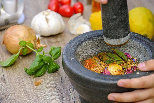 Mortar, Spices, Spice Mix, Season, Cook, Prepare