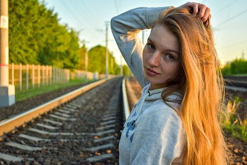 Girl, Beautiful, Portrait Of A Girl, Railway, Rails