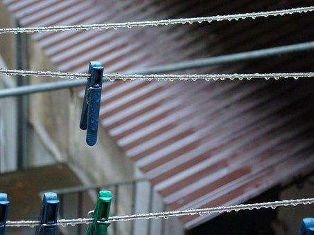 Clothespins, Rope, Rain, Slate, Old, Clothesline