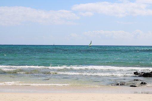 Sea, Blue Sky, Sun, Fuerteventura, Beach, Vacations