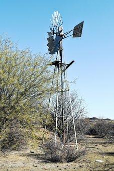 Windmill, South Africa, Arid, Bush, Semi-desert, Karoo