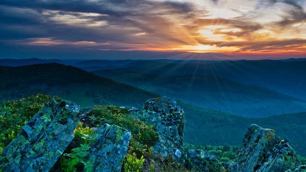 Sunset, Mountains, Afterglow, Panorama, Sky, Dusk