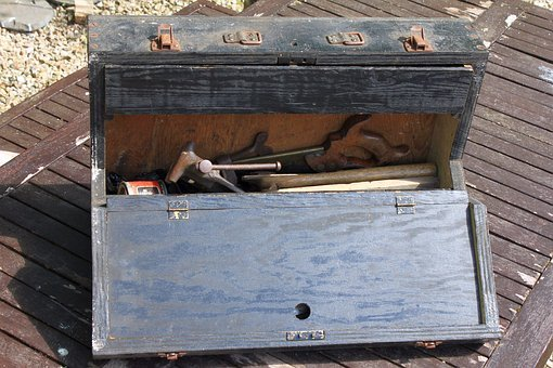 Toolbox, Wooden, Old, Black, 1940s, Vintage, Tools, Saw