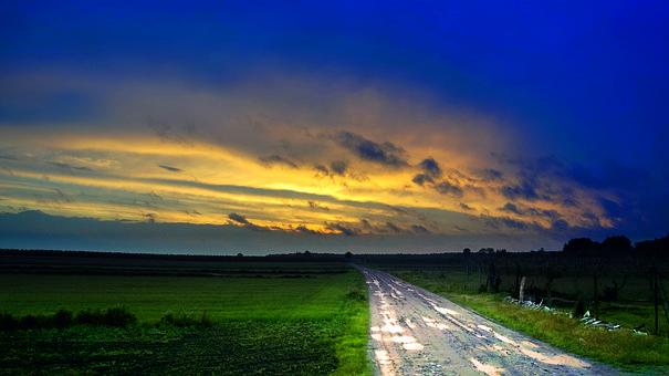 Nature, Way, Sky, Lane, Sunset, Village, Grass, Summer