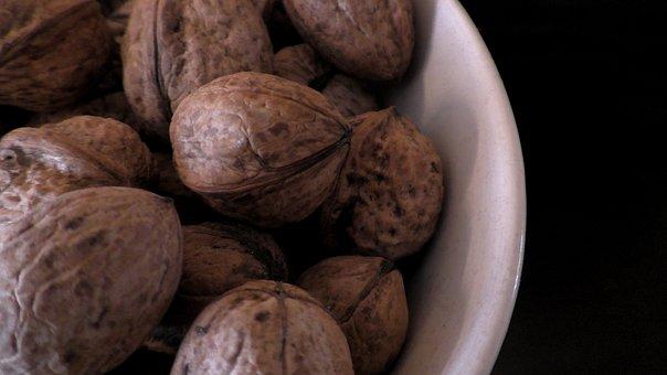 Walnuts, Nuts, Walnut, Bowl, Food, Brown