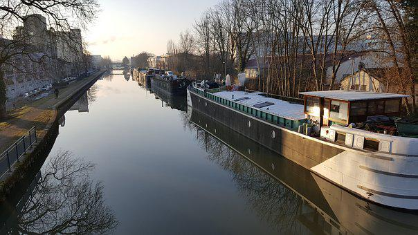 Channel, Barge, Boat, Water, River, Canal, Sunset