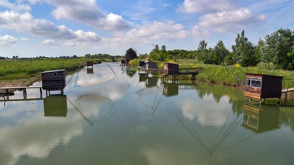 Net Fishing, Cabin, Net, Water, Nature, Landscape