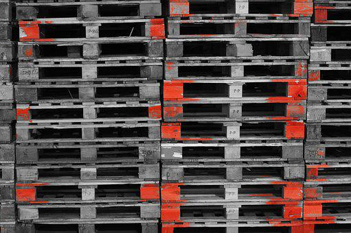 Pallets, Industry, Wood, Euro Pallets, Stacked