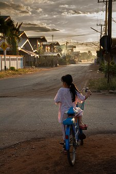 Village, Thailand, Morning, Girl, Asia, Thai, Bicycle