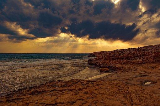 Sunset, Rocky Coast, Sea, Coast, Beach, Landscape