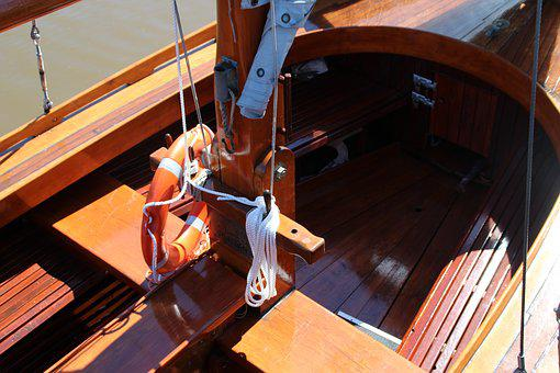 Sailing Boat, Wood, Boot, Lifebelt, Dew, Mast, Deck