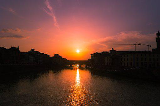 Florence, Italy, Firenze, Sunset, Nature, Eventide