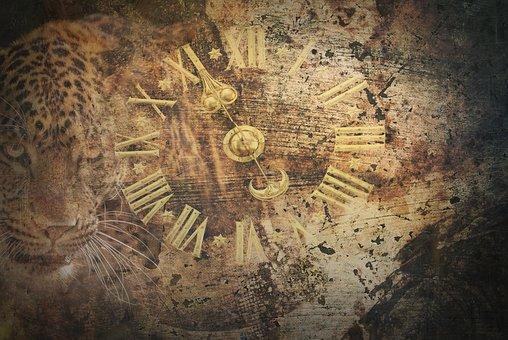 Time, Surreal, Artistic, Clock, Figures, Cougar, Brown