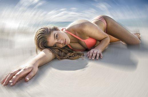 Woman, Beach, Beautiful, Sand, Relaxation, Sea, Leisure