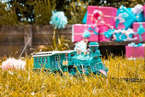 Train, Gras, Garden, Miniature, Present, Love, Lovely