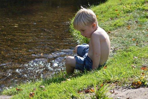 Boy, River, Child, Water, Summer, Nature, Childhood