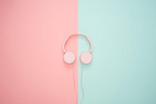 Headphones, Blue, Pink, Pastel Colors, Bright, Flat Lay