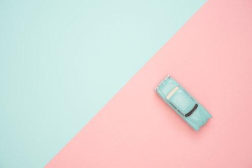 Toy Car, Pastel, Colorful, Blue, Pink, Miniature, Retro