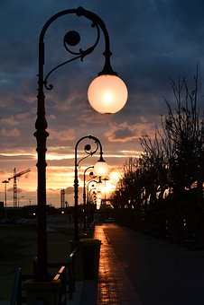 Lanterns, Evening, Twilight, Darkness, Road, Away