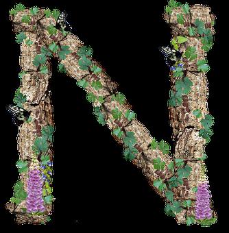 Alphabet, Letter, N, Rustic, Timber, Bark